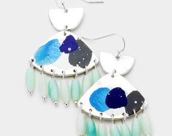 Painted Geometric Dangle Earrings Silver/Blue