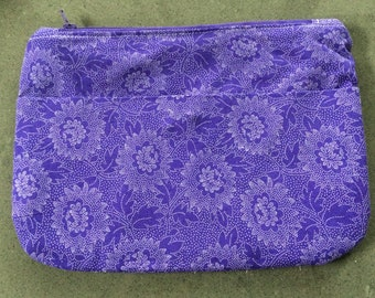 Purple and white purse / clutch /  with zip closure