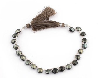 Memorial Day 1 Strand Excellent Quality Black Spinel Gray Coated Faceted Heart Beads Briolettes 8mmx8mm 8 Inches Sb1518