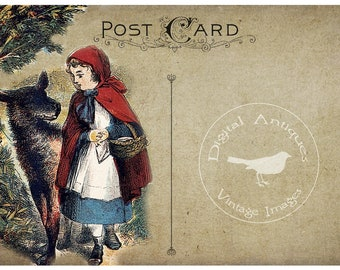 Red Riding Hood Vintage Post Cards and Tags Digital Download