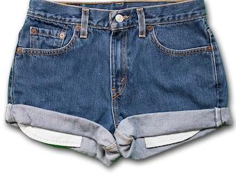 Vintage 90s Levi's Medium/Dark Blue Colored Wash High Waisted Rise Cut Offs Cuffed Rolled Jean Denim Shorts – Size 28