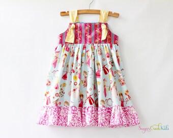 Dancing Princesses Knot Dress, Girl's Sizes:  12-18mo, 2T, 3/4T, 5/6, 7/8