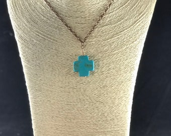 Turquoise Cross and Oxidized Copper Chain