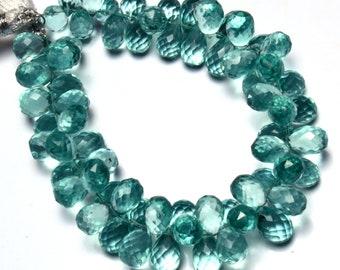Aquamarine Color Quartz Faceted 10x8MM Approx. Teardrop Shape Briolette Beads 7 Inch Full Strand
