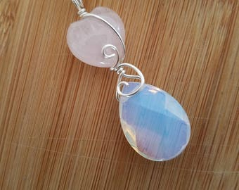 Faceted Opalite Drop Swarovski Rose Quartz Puff Heart Bead Silver Wire Wrapped Pendant Simple Wire Wrap Jewelry Handmade Chic Drop Pendant