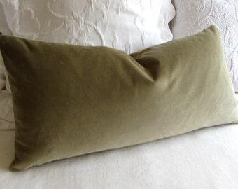SAGE/OLIVE velvet lumbar rectangular bolster pillow 13x26