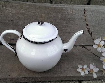 French Enamel Tea Kettle, Vintage Distressed Tea Kettle, White Enamel Kettle, French Country Style Enamelware Kettle, Rustic Kitchen Decor