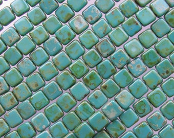 CzechMates Beads Picasso Persian TURQUOISE 6mm Square Tile 50 pc 2 Hole Pressed Glass T6315