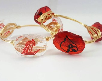 University of Louisville Wire Wrapped Bangle Set, Wire Bangles, Bracelets, Bourbon and Boweties Inspired