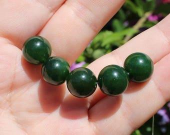 1 Pearl emerald green round dark 14 mm AA *.