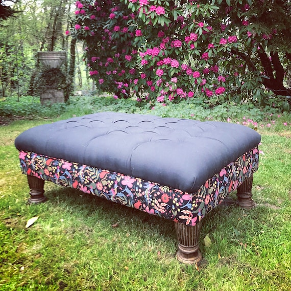 Large Footstool Ottoman Black Deep Diamond Button Rifle Paper Co Company Folk Birds Furnishing Fabric