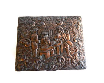 """Antique Repousse Scenes Scrolls Copper Cigarette Box - Footed Hinged - Trinket - Snuff - Wood Lining - 4"""" Long x 3 1/2"""" Wide x 1 7/8"""" High"""