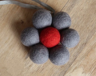 Fabulous Gray and Red Felt Wool & Brass Flower Pendant
