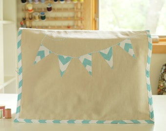 Sewing Machine Cover - Blue and White Chevron Banner