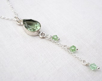fathers Day Gift Green Amethyst Necklace Prasiolite Teardrop Pendant Chain Tassel Necklace Thin Chain Necklace Sterling Silver Necklace