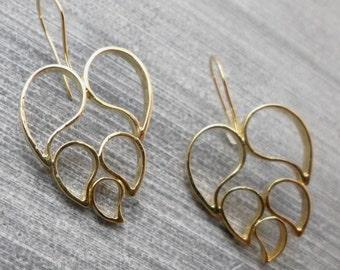 Lotus Earrings,  Long Dangle, 24K Plated,5 Elements Flower, Gold Filled Hook, Zen, Yoga, Elegant