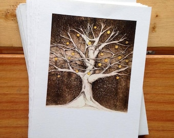 6 blank cards - Tree with the Lights in it - apple tree etching