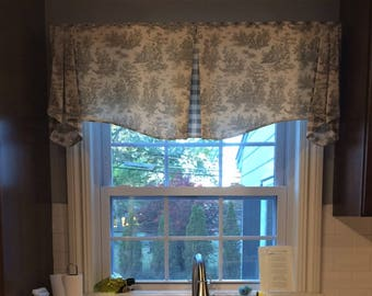 "Custom Valance MAISON Hidden Rod Pocket® Valance 45""- 54"" window, Made To Order using your fabrics, my LABOR and lining"