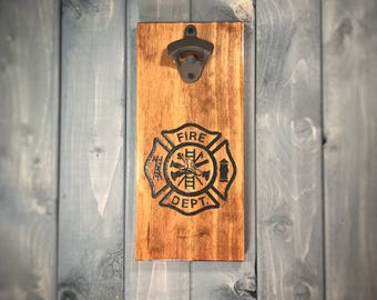 Firefighter Wall Mounted Bottle Opener - Firefighter Bottle Opener, patriotic, military, bar, home, man cave, personalized, customized