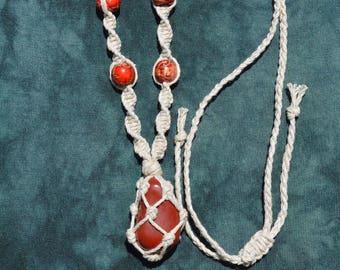 Xmas Sale - Hand-made Red Jasper Macrame Hemp Necklace