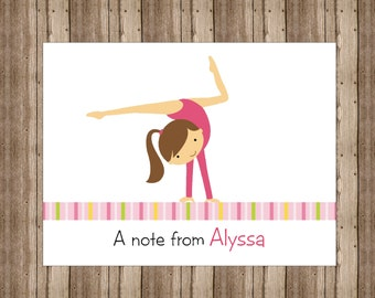 PERSONALIZED NOTECARDS for GIRLS /Cute Girls Gymnast Gymnastics Notecards Boxed/Pink Girls Stationery/Set of 10/Gymnastics Party Thank You