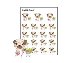 Planner Stickers Pug Grocery Shopping