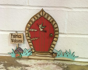 Fairy Door - Wooden Handmade Fairies Welcome - Red