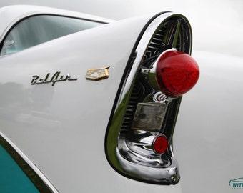 Chevy Decor, Classic Car Art, Automotive Decor, Vintage Car, Large Wall Art, Chevorlet Art, Chevy Bel Air Tail Light