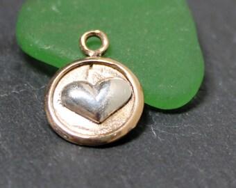 Heart Charm Bronze Sterling Silver Heart