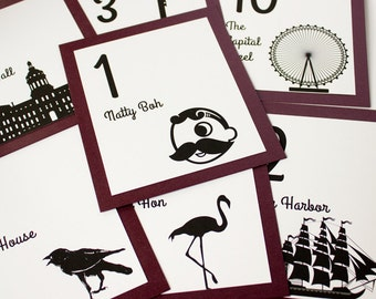 Baltimore Table Number Wedding Decor Icons Landmarks Silhouette City Reception Signage Choose font and color