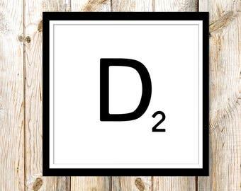 Instant Download Art - Printable Art - Print at Home - Printable Downloads- Monogram Printables - Printable Letters  - Alphabet Letter D