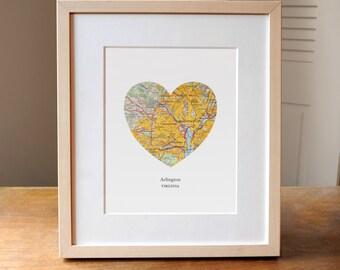 Arlington VA Heart Map Print, Arilington Virginia Heart Map Print, Gift for Friend, Wedding gift, Anniversary gift,