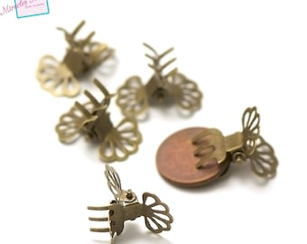 10 small claws Combs hair 22 x 15 x 13 mm, bronze