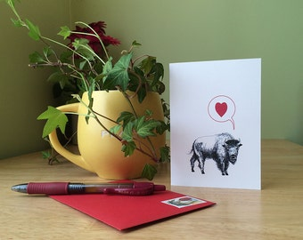 Funny card with a buffalo and a red heart. Anniversary card or Mother's Day card. Bison card.