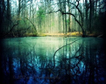 Photography, Nature Picture, Landscape Photography, Lake, Blue, Green, Grey, Black, Trees, Forest- 8x8 inch Print -Enchantment of Everaft