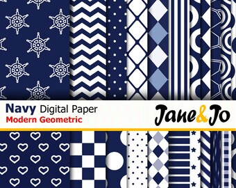 36 Navy digital papers,Dark blue papers,Geometric navy digital patterns  ,Printable paper,Scrapbooking,Chevron,Stripes,Dots Instant Download