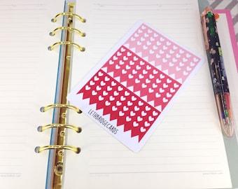 Mini red heart checklist stickers; Ombre Stickers; Filofaxing; Erin Condren; Cute Stickers; Kawaii Stickers; Colour Coding; Planner Sticker