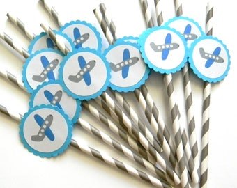 12 Blue Airplane Party Straws, Airplane Theme, Airplane Birthday, First Birthday, Plane Birthday, Plane Party, Baby Shower, Airplane Party
