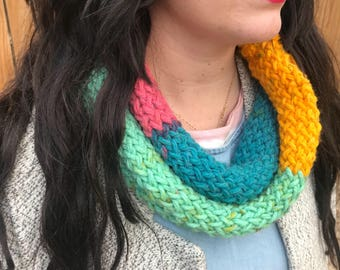 Ranbow Infinity Scarf / Knitted Scarf / Hand Loomed / Scarf / Cowl / Casual Scarf / Striped Scarf /Scarf / Simple Scarf