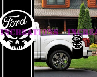 Ford F-150 Skull Truck Side Stripes Decals Off Road Stickers Set of 2 Car Decal
