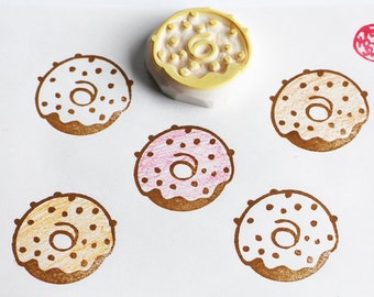 doughnut rubber stamp | donut stamp | cake stamp | diy birthday favors | card making | gift wrapping | hand carved by talktothesun