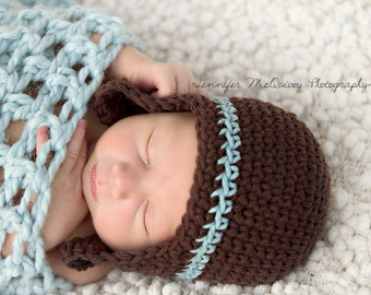 Newborn brown and blue striped beanie