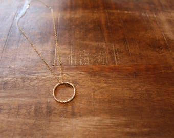 Plain Gold Circle Necklace on 14k Gold Filled Chain