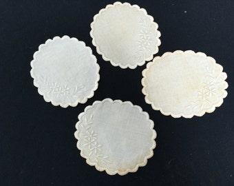 Set of 4 Vintage Ivory Linen Coasters or Doilies
