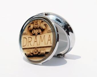 "PILL BOX - Drama Pill Box Round- Photo Pill Box - 2.25"" diameter -  Round Pill container"