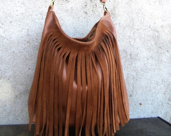 Brown leather  bag with #fringed #boho bag