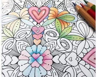 Printable Hearts Mandala Colouring Page