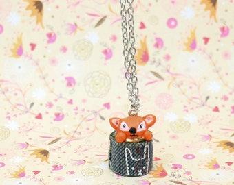 Little Fox in his basket pendant