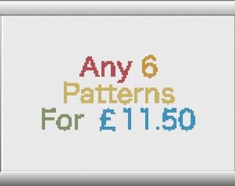 Six Pattern Cross Stitch Pattern Combo Deal