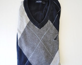 vintage 1980s Preppy Nautica sweater vest--navy, blue diamond design